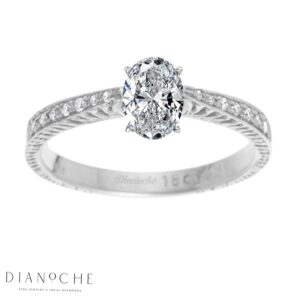 Oval Diamond Ring With Side Stones White Gold