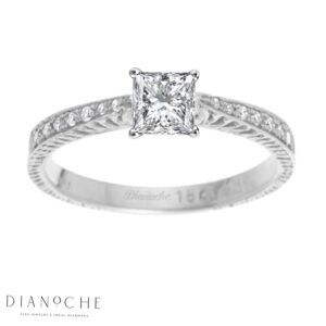 Princess Diamond Ring With Side Stones White Gold