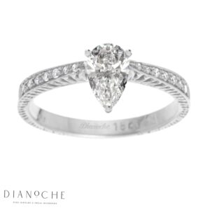 Pear Diamond Ring With Side Stones White Gold