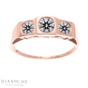 3 stone diamond ring rose gold
