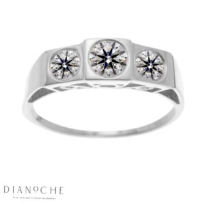 3 stone diamond ring white gold