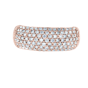 Wide Small Diamonds Ring Rose Gold