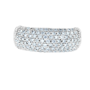 Wide Small Diamonds Ring White Gold