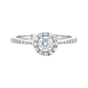 Delicate Flower Diamond Ring White Gold