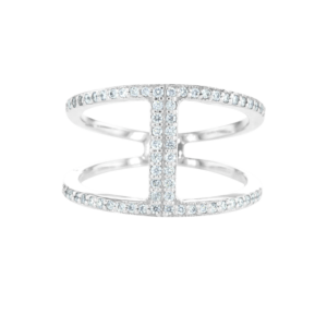 Designed Small Diamonds Ring White Gold