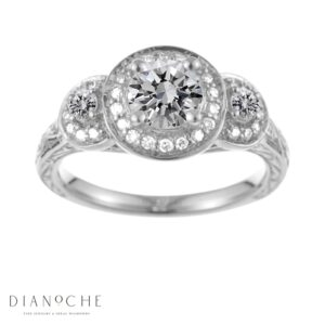 Antique diamond ring white gold