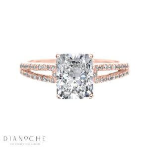 Split Shank 4 Prongs Cushion Diamond Ring rose gold