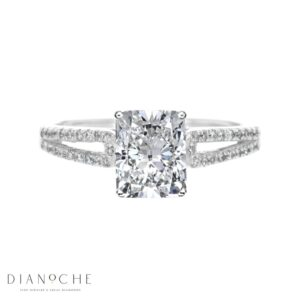 Split Shank 4 Prongs Cushion Diamond Ring white gold