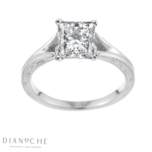 Split diamond ring princess cut white gold
