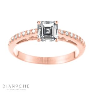 Designed diamond ring asscher cut rose gold