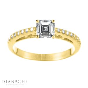 Designed diamond ring asscher cut yellow gold