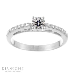 Designed diamond ring round diamond white gold