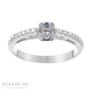 Designed diamond ring cushion cut white gold