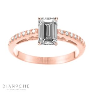 Designed diamond ring cushion cut rose gold