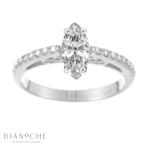 Designed diamond ring marquise cut white gold
