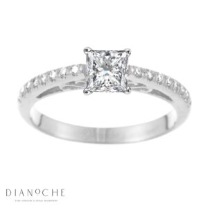 Designed diamond ring princess cut white gold