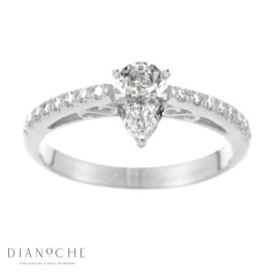 Designed diamond ring pear shaped white gold