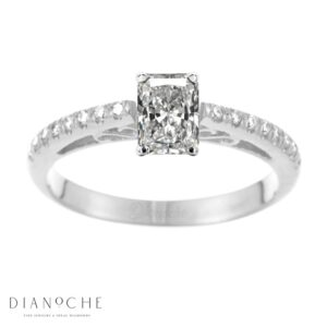 Designed diamond ring radiant diamond white gold