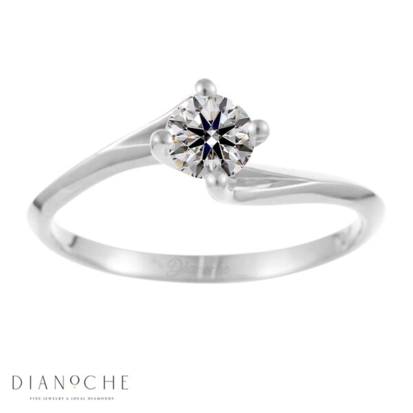 Twist diamond ring white gold