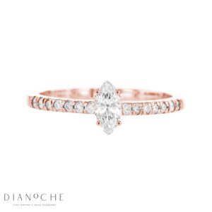 Petite Marquise Diamond Ring With Side Stones rose gold