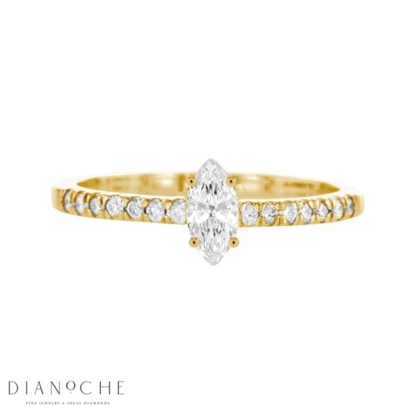 Petite Marquise Diamond Ring With Side Stones yellow gold
