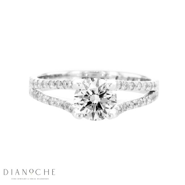 round diamond ring with thin band in white gold