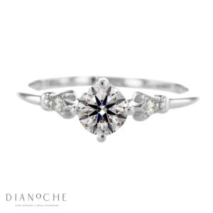 Thin band engagement ring white gold