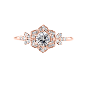 Vintage Style Diamond Ring Rose Gold