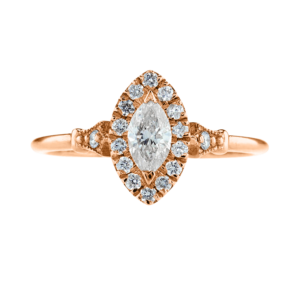 Marquise Cut Halo Diamond Ring Rose Gold