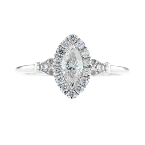 Marquise Cut Halo Diamond Ring White Gold