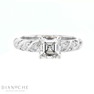 Spiral Shank Asscher Diamond Ring white gold