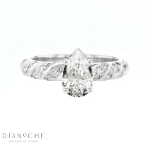 Pear diamond ring white gold