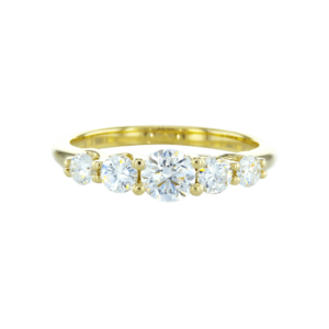 5 stone diamond ring yellow gold
