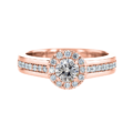 Wide Shank Halo Diamond Ring Rose Gold
