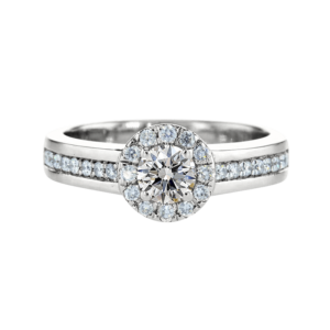 Wide Shank Halo Diamond Ring White Gold