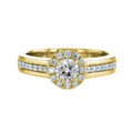 Wide Shank Halo Diamond Ring Yellow Gold