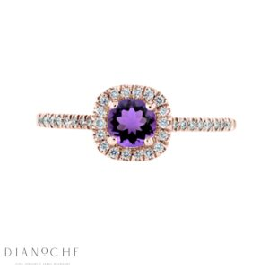Amethyst Diamond Ring rose gold