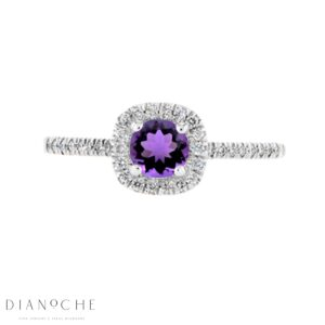 Amethyst Diamond Ring white gold