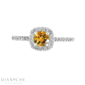 Citrine Halo Ring white gold