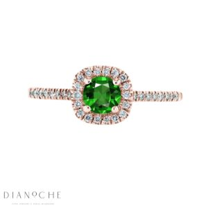 Emerald stone and diamond ring rose gold