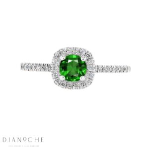 Emerald stone and diamond ring white gold