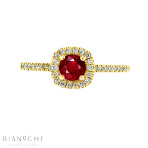 Round ruby and diamond halo ring yellow gold