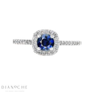 Blue sapphire diamond halo ring white gold