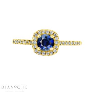 Blue sapphire diamond halo ring yellow gold