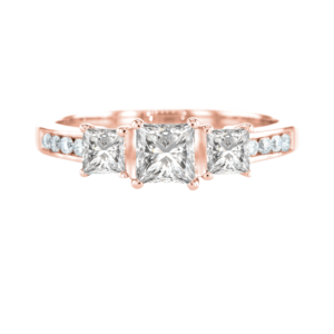 3 Princess Cut Diamond Ring Rose Gold