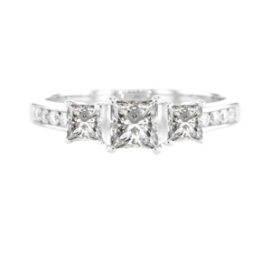 3 Princess Cut Diamond Ring White Gold