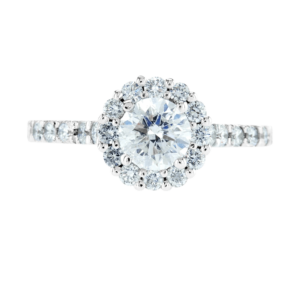 Big Flower Style Diamond Ring White Gold