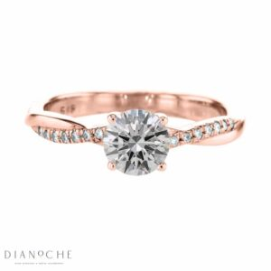 Braided band diamond ring rose gold