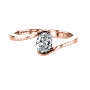 Twist Oval Diamond Ring Rose Gold