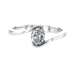 Twist Oval Diamond Ring White Gold